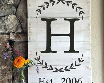 Distressed Wood Sign with Monogram, Wreath, Established Date, Wedding gift, home decor, handmade, rustic art, housewarming gift, wall art