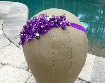 Purple Beaded Lace Swarovski Crystal Headband
