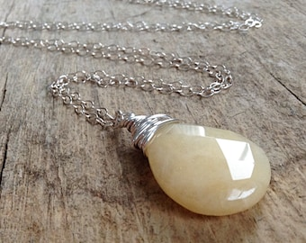 Sterling Silver Jade Necklace, Tear Drop, Layering Necklace, Yellow Jade, Wire Wrapped, Bohemian Necklace, Bohemian Jewelry