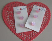 Curtis and Darling Vintage Pink Plastic Hearts 2 Carded Unused Button Cards