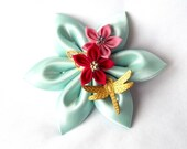 Large Kanzashi Hair Flower Fascinator with Dragonfly Aqua Red Pink