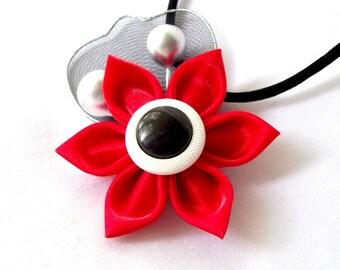 Red Satin Necklace Tsumami Kanzashi Flower Pendant