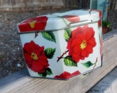 English Candy Tin with Red Primroses Octagon Shape Small Lidded Vintage Tin Container