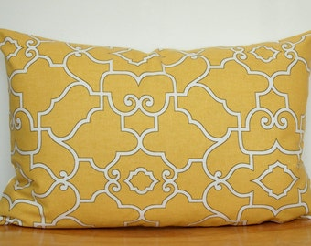 Yellow Pillow Cover, Yellow Geometric Throw Pillow, Yellow Geometric Cushion Cover, 12x18 Inch Yellow Pillow