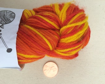 Red, Orange, and Yellow Self Striping Sock Yarn Superwash Merino Sport Weight