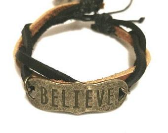Believe Bracelet Leather Bracelet Inspiration Jewelry Teen Girl Gifts Teen Boy Inspirational Women Men