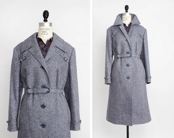 70s Tweed Coat L • Blue Speckled Wool Long Coat • Tailored Menswear Inspired Coat | O205