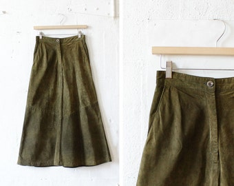Olive Green Suede Midi Skirt XS/S • 80s Talbots Flared Skirt with Pockets • Boho Leather Skirt | SK475