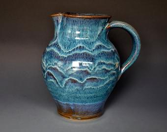 Blue Pottery Pitcher Ceramic Pitcher Stoneware Pitcher Handmade Pitcher Jug C