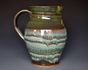 Dark Forest Pitcher Green Ceramic Pottery Jug A