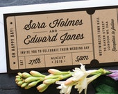 Rustic Recycled Ticket Wedding Invitation / 'Just the Ticket' Kraft Wedding Invite / Concert or Admission Ticket / ONE SAMPLE