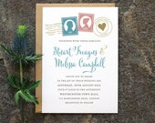 Modern Calligraphy Wedding Invitation / 'Love Letter' Invite Silhouette Stamps / Rose Blue Gold Grey / Custom Colours Available / ONE SAMPLE