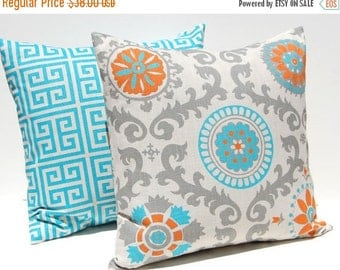 SALE Decorative Throw Pillow Covers Turquoise, Orange and Gray on Natural Greek Key and Suzani 20 x 20 Inches Accent Pillows Cushion Covers