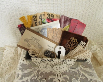 Vintage Findings Supplies Scraps - Mixed Media, Assemblage, Altered Art - Small Metal Loaf Tin - Lace Tickets Fabric Numbers