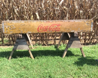 SALE Coca Cola Wood and Tin Ice Chest, Antique Coke Cooler, General Store Coke Cooler, Gas Station Coca Cola Cooler, RARE