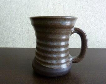 Vintage Silhouette Shaped Art Pottery Mug  - Artist Signed A M Gagnon, Quebec - Brown & Light Blue Glaze - Made in Quebec, Canada