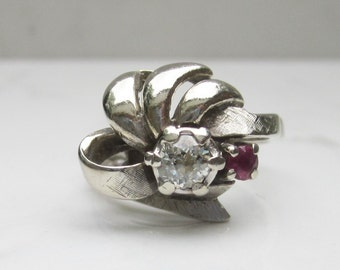 Vintage 1950s MidCentury 14k Solid White Gold Diamond and Ruby Ribbon Engagement Dinner Ring, Size 6