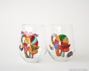 Stemless Glasses Cat Glasses, Funny Cats Glasses, Water Glasses, Hand Painted, set of 2