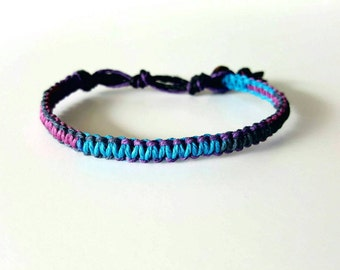 Passion Multi-color Hemp Bracelet, Purple, Blue, Tie-Die, Hemp Anklet, Indie Hemp Works, Hemp Jewelry, Aromatherapy, Natural, Bug Repellent