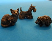Set of 3 Vintage Bronze Fedosov Animal Miniatures RESERVED