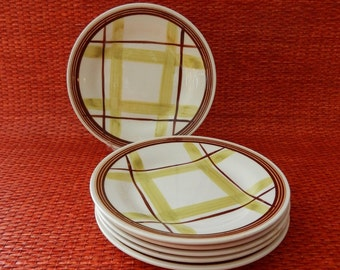 6 Edwin Knowles Plaid Bread and Butter Plates, Virginia Hamill Design, Mid Century Green and Brown Pacific Plaid China