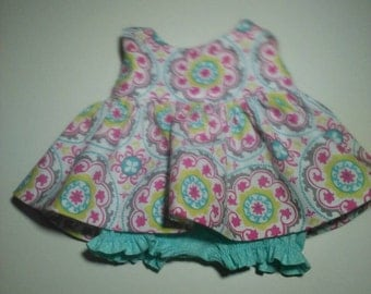 """Baby Alive  And Waldorf Doll Clothes Adorable Dress 10"""" 12"""" Or 15"""" Pink and Grey Geometric"""