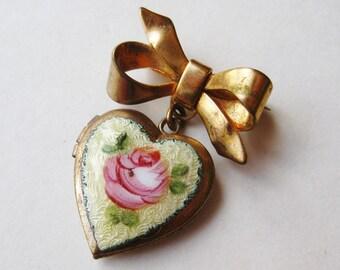 Vintage 40s Coro Style Heart Shaped Guilloche Enamel Locket Brooch Pin