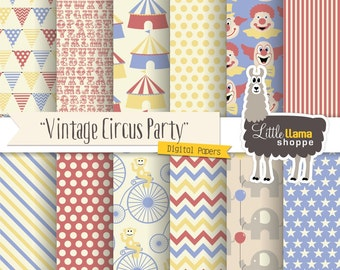 Circus Digital Paper, Old-fashioned Carnival Digital Scrapbook Paper Pack, Vintage Circus, Commercial Use, Clowns, Circus Tents