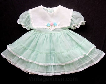 Baby Girl's Dress - 1950s Mint Green Organdy Girls Dress with Roses Detail - Size 6 Months Baby Girl Party Frock - Spring - 50s - 29755-1