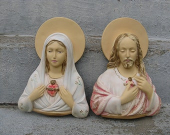 Jesus and Mary plaster wall hangings religious chalkware universal statuary exposed heart catholic icons 11 inches tall