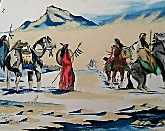 Art - Copy of Original Artwork (Winter Council) Watercolor - Painted - Poster - Gift Idea - American Indian -  Decorate - Wall Art - Picture