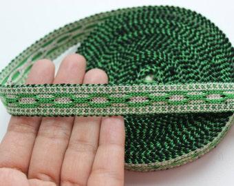 Uzbek woven green color trim Jiyak. Ethnic Boho trim