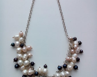 Silver plated freshwater pearl necklace