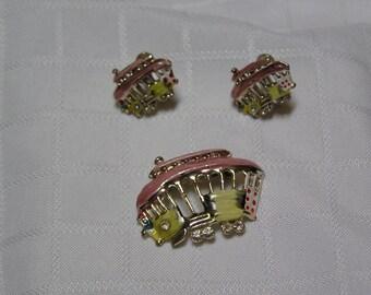 Vintage  enamel and rhinestone wheels cable car Boho whimsical brooch and screw back earrings