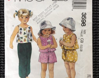 McCall's 3598 Toddler Top Pants Shorts Bloomers Sewing Pattern Size 1-3 UNCUT