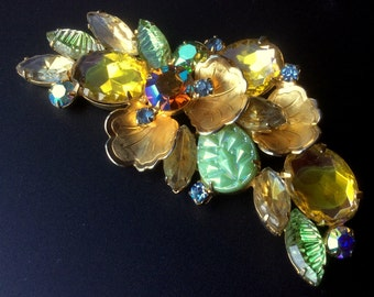 Juliana Green and Yellow Gold Brooch - Delizza and Elster
