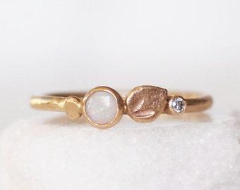 Diamond and Opal Ring - Botanical Kaleidoscope Ring - 14k Gold Opal Ring