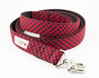 Red Mini Buffalo Plaid Dog Leash