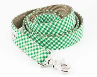 Kelly Green Gingham Dog Leash