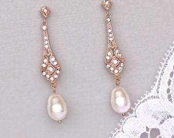 Rose Gold Pearl Drop Earrings, Crystal Bridal Earrings, Pink Gold Dangle Earrings,  VIOLET RGP