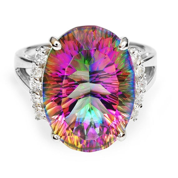 12 ct Genuine Fire Rainbow Concave Oval cut Topaz gemstone, Rhodium on SOLID Sterling Silver Ring Size 8