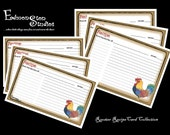 Printable Rooster Recipe Cards Artist Drawn Rooster DIY 3x5 4x6 Instant Download