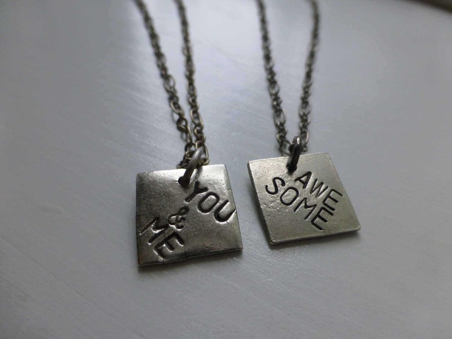 Couples matching necklaces set you me awesome both sides for Couples matching jewelry sets