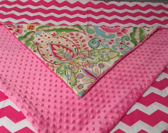 KUMARI GARDENS & pink MINKY dot baby Blanket with Free Embroidery