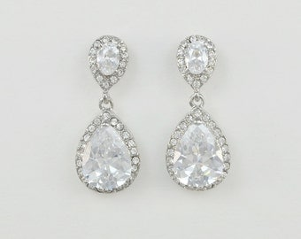 Bridal Teardrop Earrings, Cubic Zirconia, Wedding Jewelry, Allison - Ships in 1-3 Business Days