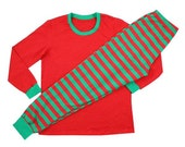 CHILD Red and Green Striped Pajamas