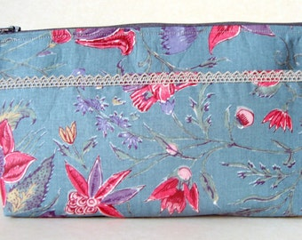 Zip top pouch, storage pouch, cotton zipped bag, jewelry storage
