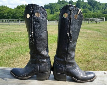 Black Bull Hide Tener's Vintage Cowboy Boots size 4.5B