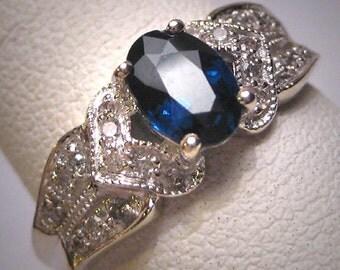 Vintage Sapphire Diamond Wedding Ring Art Deco Estate Engagement Band