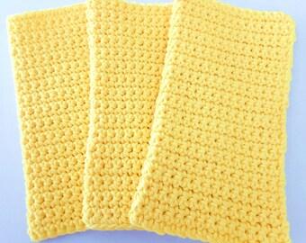 Crochet Wash Cloths - Crochet Dish Cloths - 100% Cotton - Handmade Washrag - Set of 3 Kitchen Dishcloths